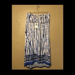 Dotti blue white strapless dress size XL